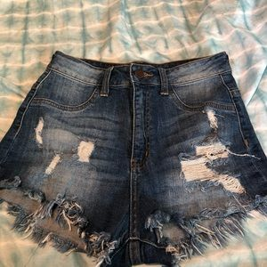 Fashion Nova Denim Stretchy Shorts Distressed Sz 3